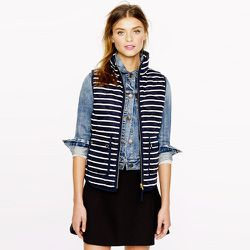 "<b>J.Crew</b> Excursion Quilted Vest in Stripe, <a href=""http://www.jcrew.com/womens_category/outerwear/woolpufferjackets/PRDOVR~02727/02727.jsp"">$138</a>"