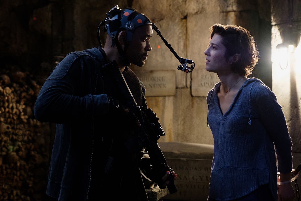 Will Smith in a motion capture suit and Mary Elizabeth Winstead tied up in a catacomb on the set of Gemini Man
