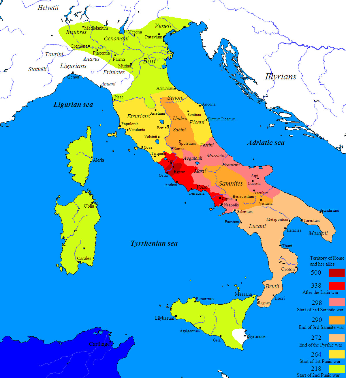 The roman empire explained in 40 maps vox 6 rome conquers italy gumiabroncs Gallery