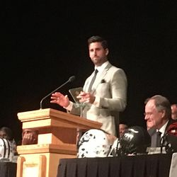 Former BYU tight end and current Baltimore Raven Dennis Pitta speaks during the 23nd annual banquet for the Utah Chapter of the National Football Foundation on Wednesday, April 12, 2017, at UVU's UCCU Center.