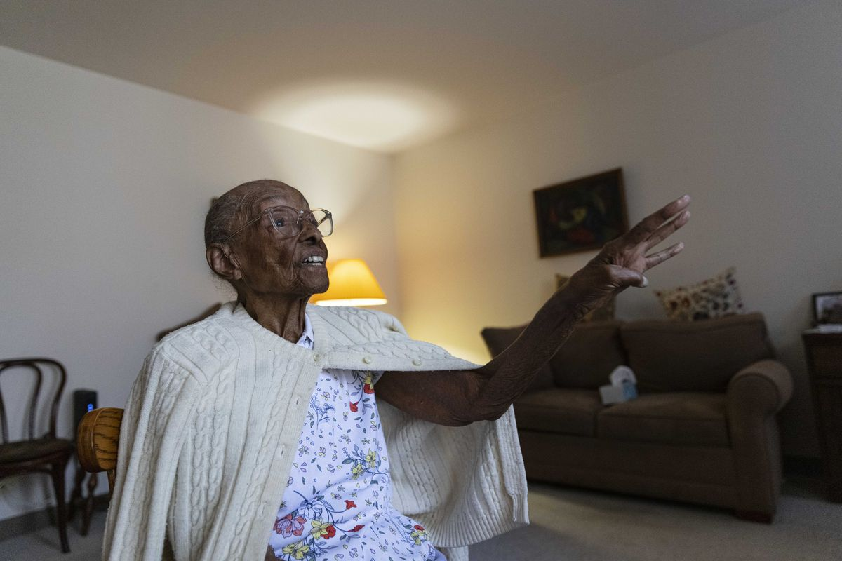Edith Renfrow Smith recounts her family's history at her retirement home in Ravenswood in June 2021. She turns 107 on July 14, 2021. She was a Chicago Public School teacher for 22 years.