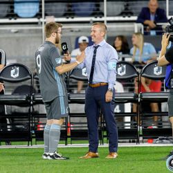 August 14, 2019 - Saint Paul, Minnesota, United States - Jaime Watson interviews the Minnesota United Unified Team goal scorer at halftime of the match against the Colorado Rapids Unified Team at Allianz Field.