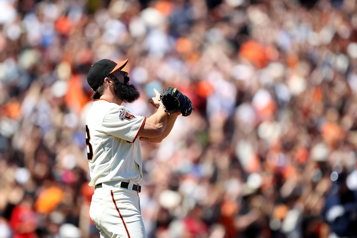 SAN FRANCISCO, CA - JULY 24:  Brian Wilson #38 of the San Francisco Giants celebrates after defeating the Milwaukee Brewers at AT&T Park on July 24, 2011 in San Francisco, California.  (Photo by Jed Jacobsohn/Getty Images)