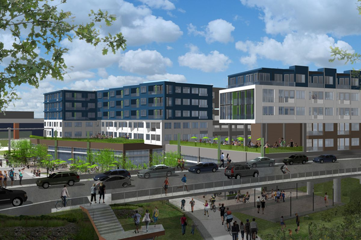The 670-690 DeKalb Avenue proposal, as seen looking south from north of the Edgewood Avenue bridge.