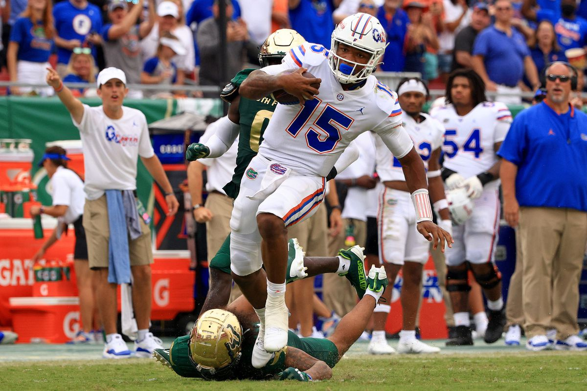 Anthony Richardson of the Florida Gators rushes for a fourth quarter touchdown during a game against the South Florida Bulls at Raymond James Stadium on September 11, 2021 in Tampa, Florida.