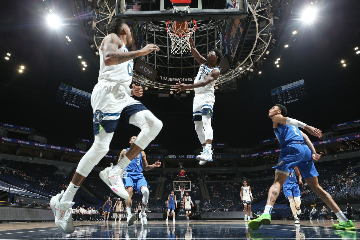 Anthony Edwards #1 of the Minnesota Timberwolves dunks the ball during the game against the Dallas Mavericks on May 16, 2021 at Target Center in Minneapolis, Minnesota.