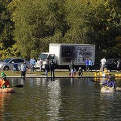 Racers line up prior to the start of the 2013 Mountain Valley Seed Co. Ginormous Pumpkin Regatta at Sugarhouse Park on Saturday, October 19, 2013.