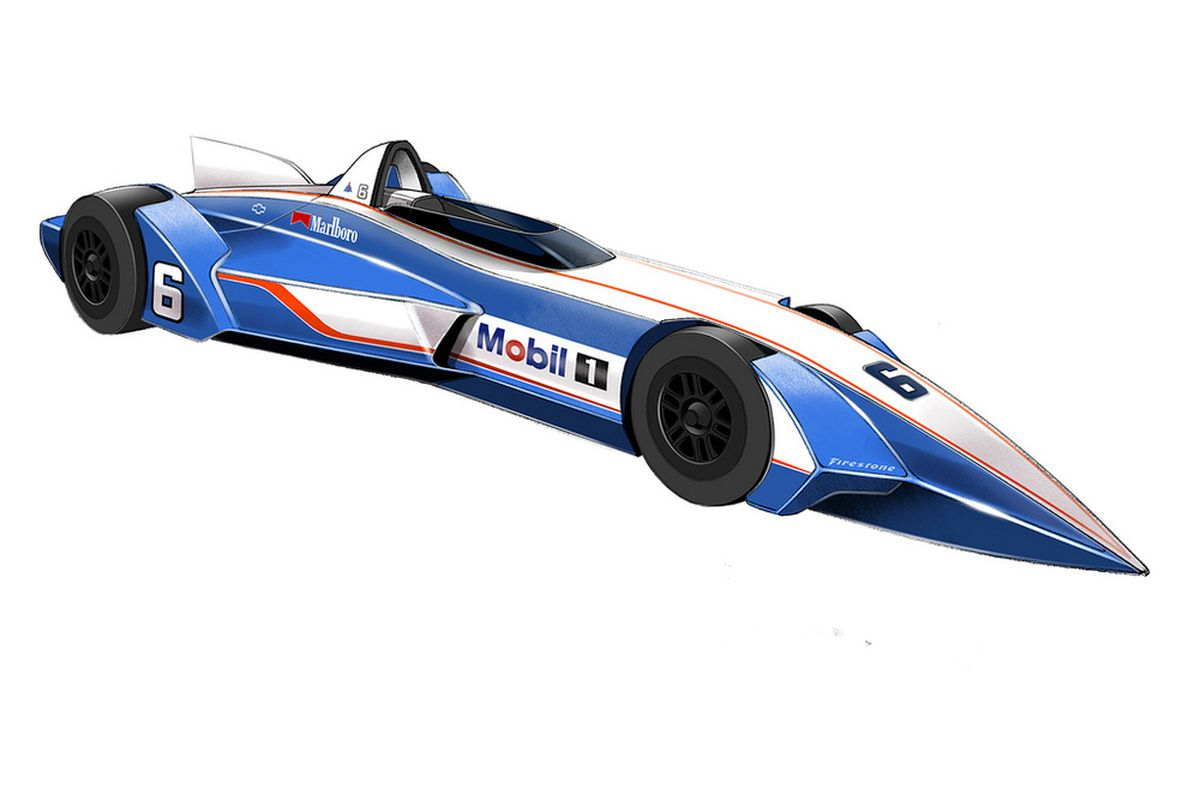 """An IndyCar fan's """"restyling"""" of the DeltaWing concept in classic Penske Racing colors."""