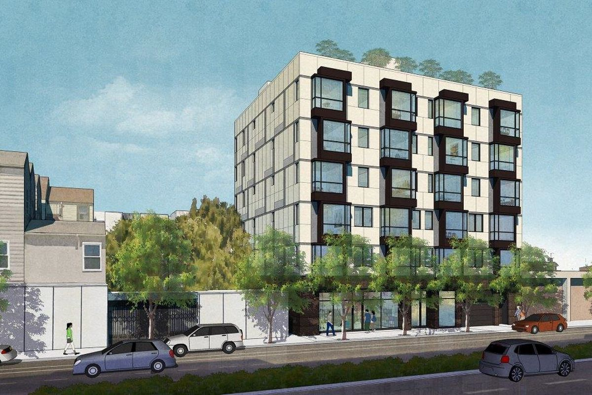 A rendering of a 24-unit building in the Mission.