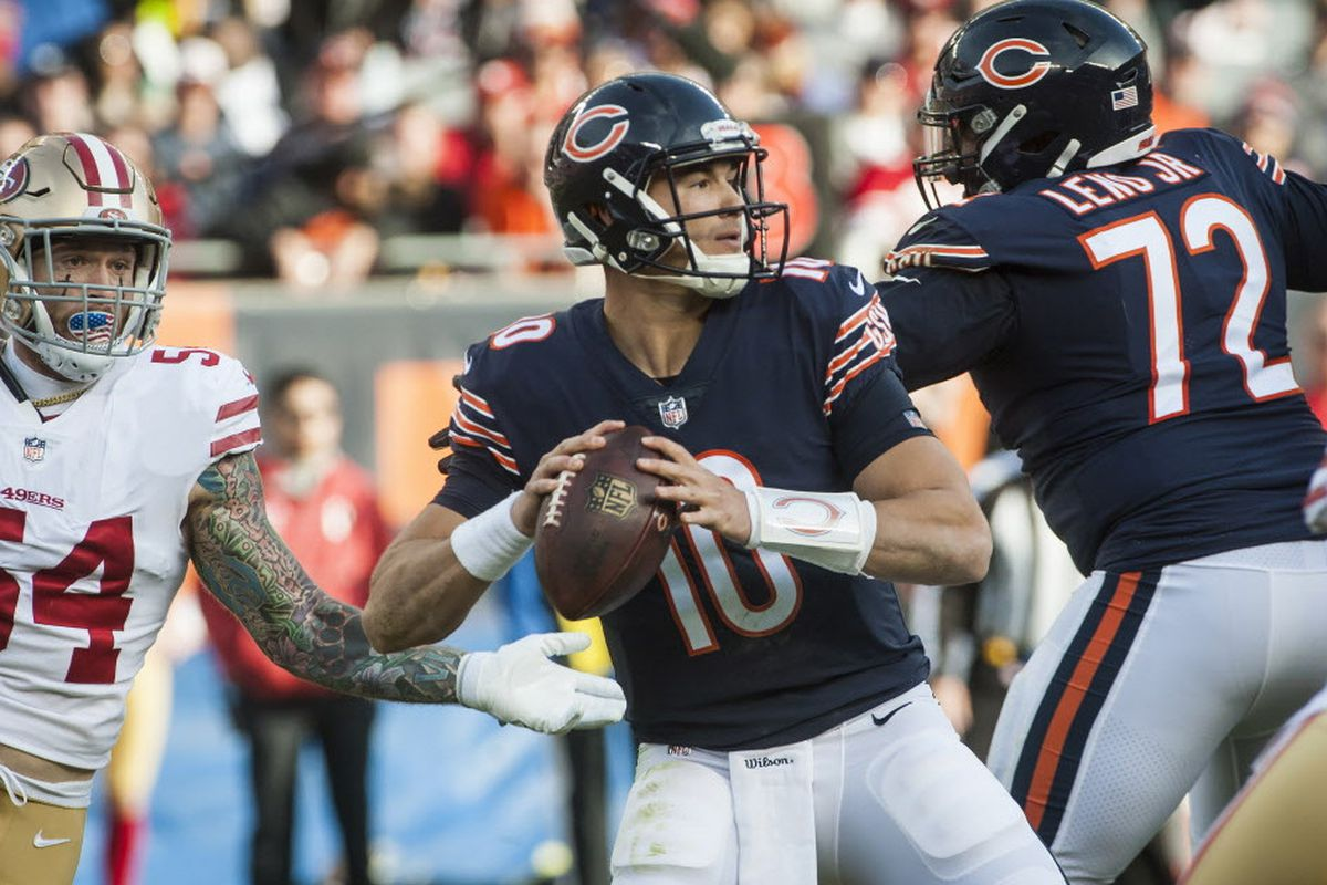 57e4116acab Bears quarterback Mitch Trubisky looks to pass against the 49ers at Soldier  Field on Dec. 3. (Ashlee Rezin/Sun-Times)