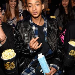 Jaden Smith in a blue flannel and leather jacket combo.