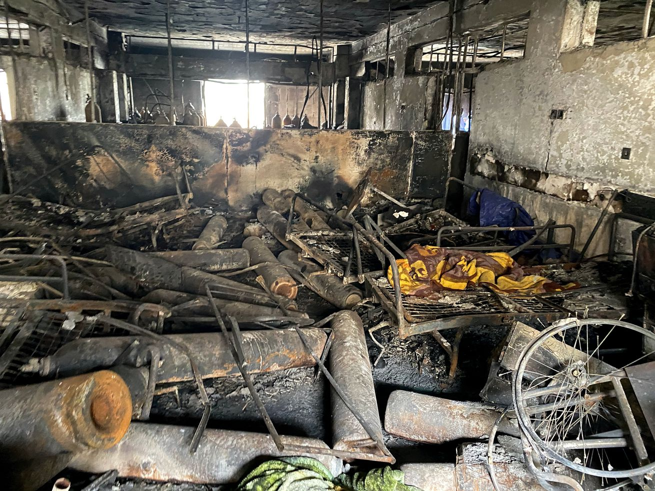 The intensive care unit at the Ibn al-Khatib hospital is damaged following a fire that broke out last Saturday evening killing over 80 people and injuring over 100, in Baghdad, Iraq, Tuesday, April 27, 2021.