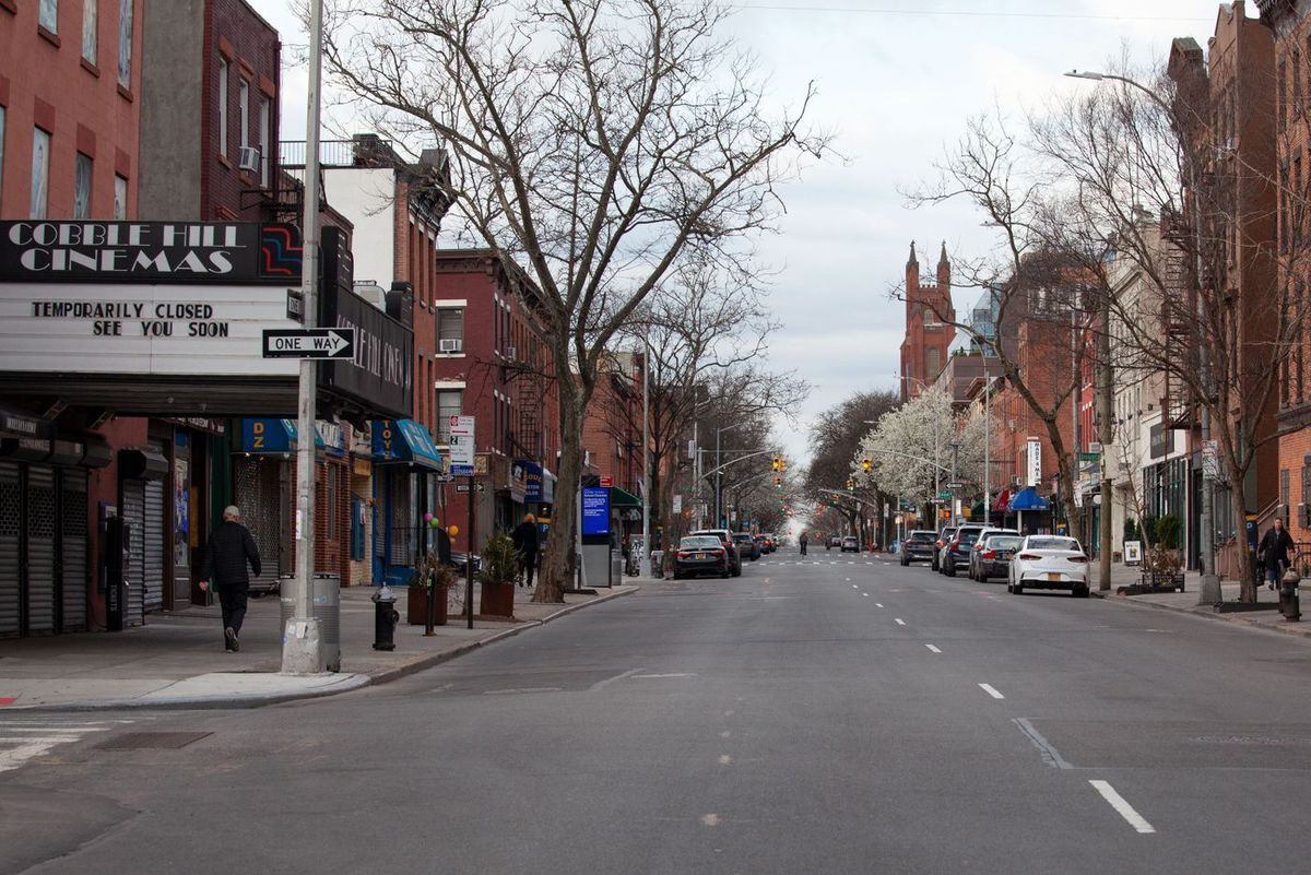 The streets in Cobble Hill were empty as people sequestered themselves during the coronavirus outbreak.