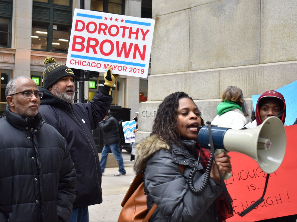 About 30 supporters of Dorothy Brown gathered to protest Toni Preckwinkle's challenge.   Troy Closson/For the Sun-Times