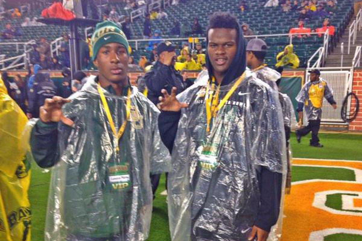 Kameron Martin (left) with star wide receiver Tren'Davian Dickson at a Baylor game