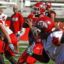 Utah quarterback Jordan Wynn drops back to pass during Monday's practice.