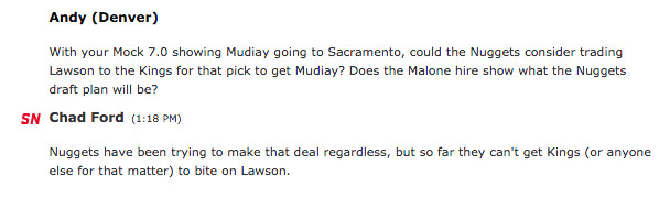 Chad Ford on a potential Ty Lawson Trade