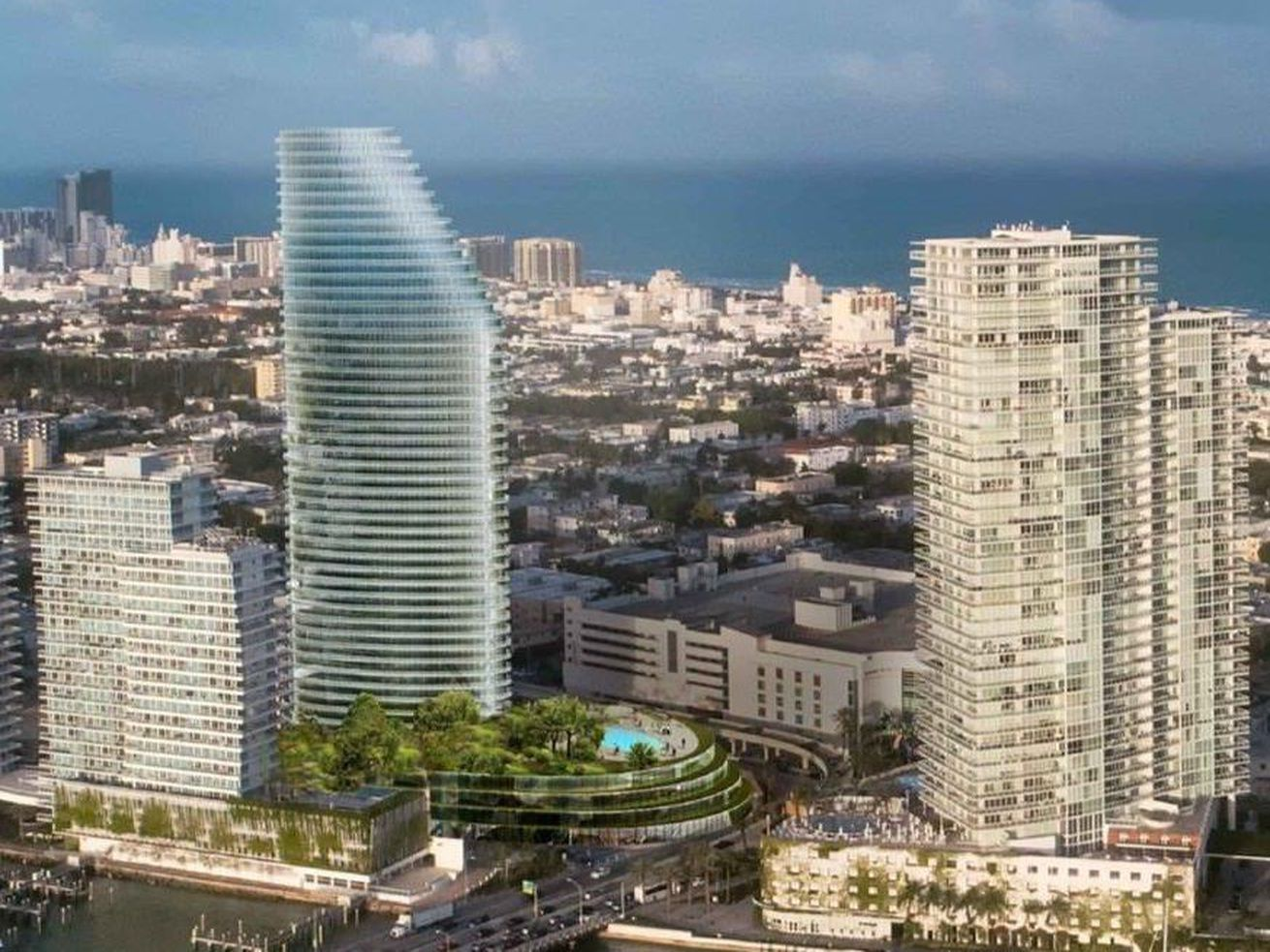An earlier rendering showing the 42-story version of the project.