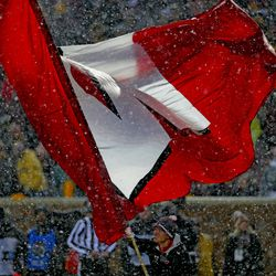 In an on-going snowstorm, the Badgers beat Minnesota to regain Paul Bunyan's Axe, 38- 17.