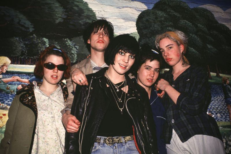 Bikini Kill and Joan Jett (center), 1994.