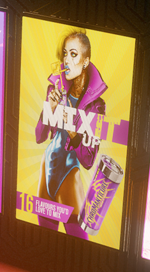 Cyberpunk 2077 - close-up of 'Mix It Up' ad featuring trans model