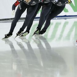 USA's Mia Kilburg-Manganello, left, Brianna Bocox and Paige Schwartzburg compete in the team pursuit at the ISU World Single Distances Speed Skating Championships at the Utah Olympic Oval in Kearns on Friday, Feb. 14, 2020.