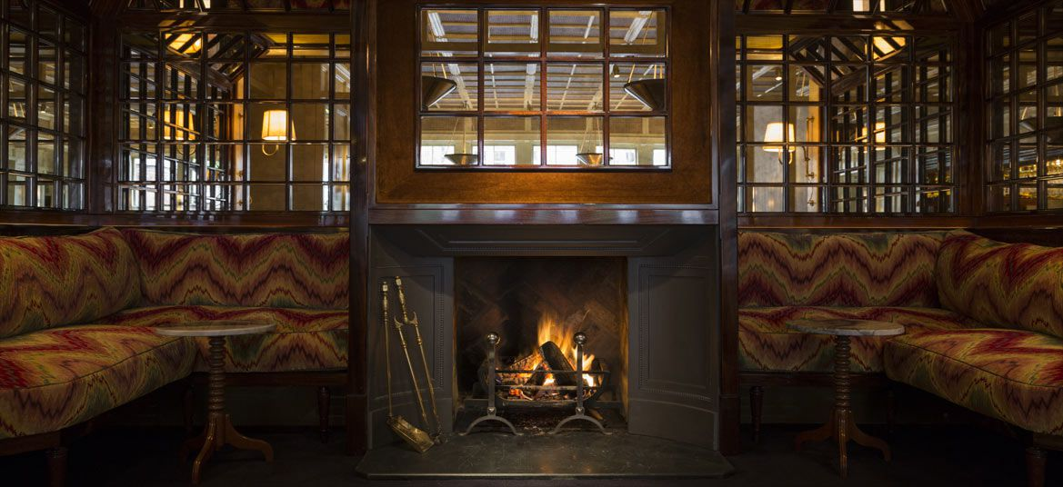 Fireplace at Chiltern Firehouse, one of London's best restaurants with a fireplace