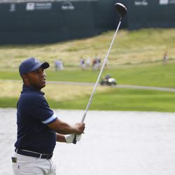 Harold Varner III watches his drive on the 18th hole in the 2019 Travelers Championship Third Round at the TPC River Highlands in Cromwell, CT on June 22, 2019.