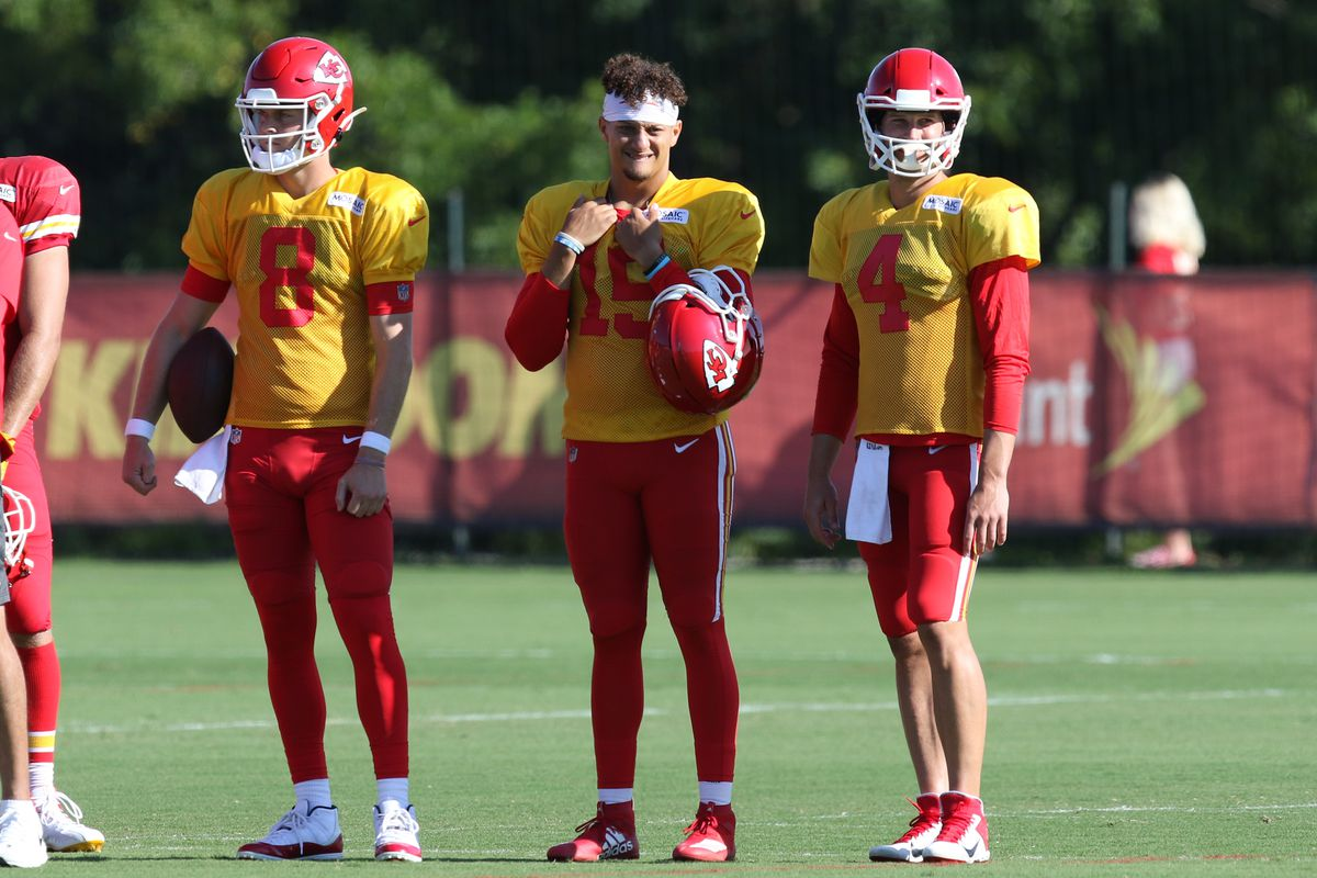 Kansas City Chiefs quarterbacks Patrick Mahomes, Chase Litton and quarterback Chad Henne stand on the sidelines during Chiefs training camp on August 14, 2019 at Missouri Western State University in St. Joseph, MO.