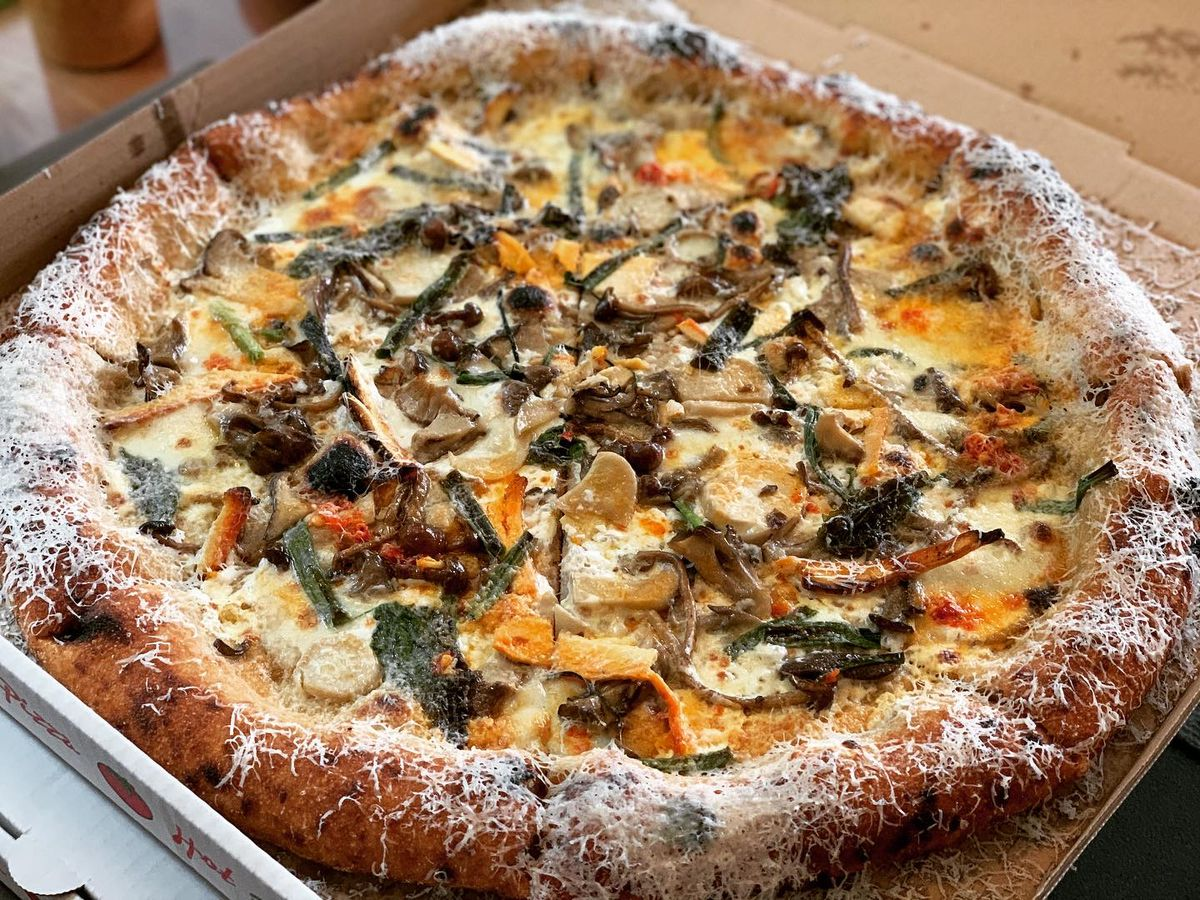 One of the grana padano-dusted pies from June's Pizza
