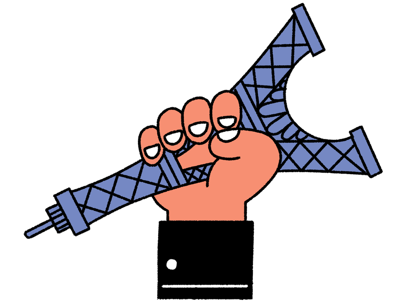 A hand clutches the Eiffel Tower. This is an illustration.
