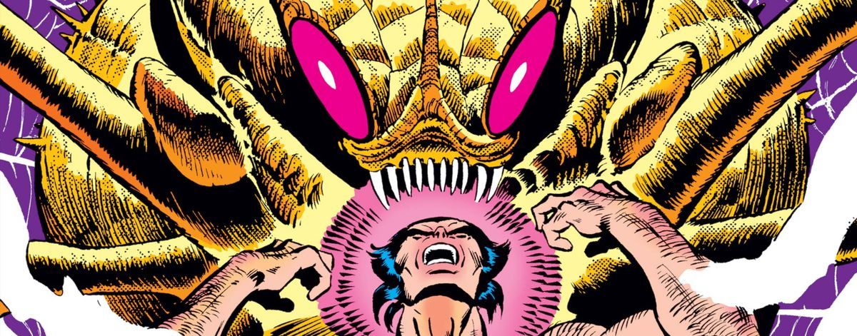 Wolverine yells at the sky while menaced by a giant, predatory space insect, from the cover of Uncanny X-Men #162, Marvel Comics (1982).