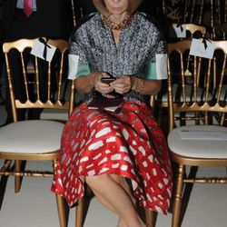 Anna Wintour front row at the Balmain Ready to Wear Spring / Summer 2012 show during Paris Fashion Week at the Grand Hotel Intercontinental on September 29, 2011 in Paris, France