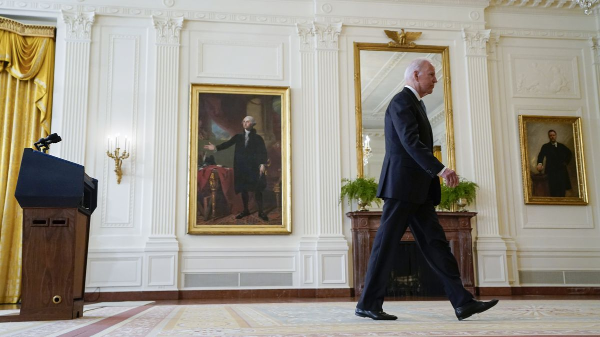President Joe Biden walks from the podium after speaking about Afghanistan from the East Room of the White House on Monday.