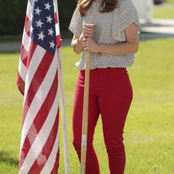Jennie Taylor looks skyward during a groundbreaking ceremony for the first Utah Gold Star Families Memorial monument in North Ogden on Tuesday, May 19, 2020. Taylor's husband, Maj. Brent Taylor of the Utah Army National Guard — and former mayor of North Ogden — was killed in Afghanistan on Nov. 3, 2018, during an insider attack that wounded another American soldier.