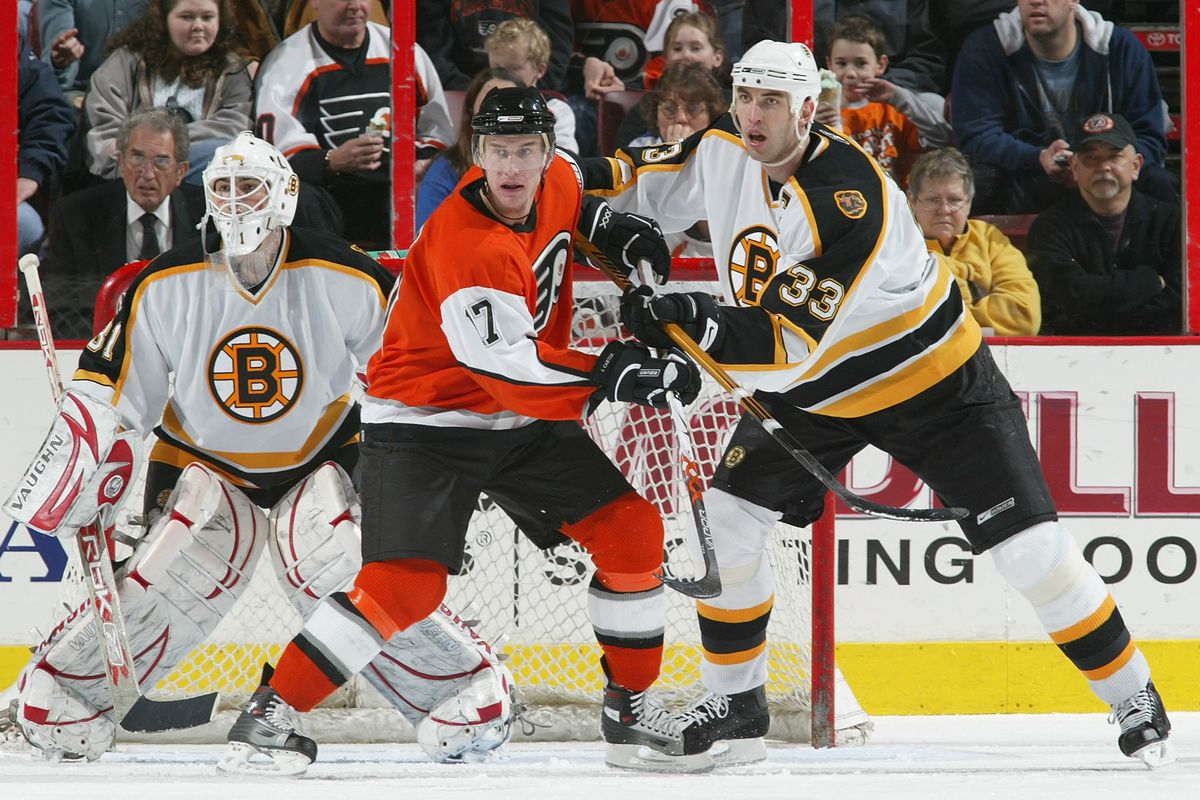 A young Zdeno Chara clears the crease