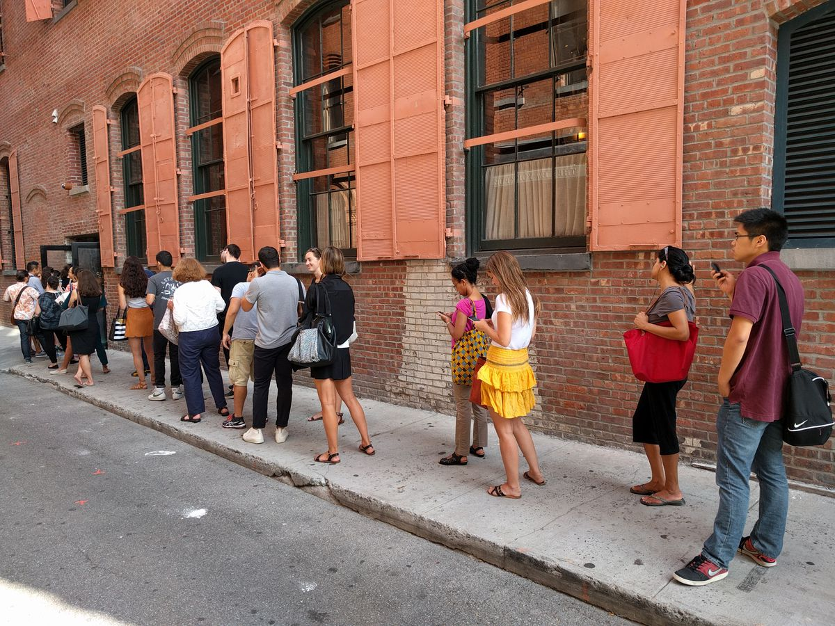 [People waiting in line for Federal Donuts on Jersey Street]