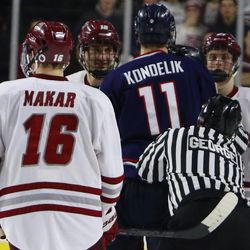 The UConn Huskies take on the UMass Minutemen in a men's college hockey game at the Mullins Center in Amherst, MA on February 21, 2019.