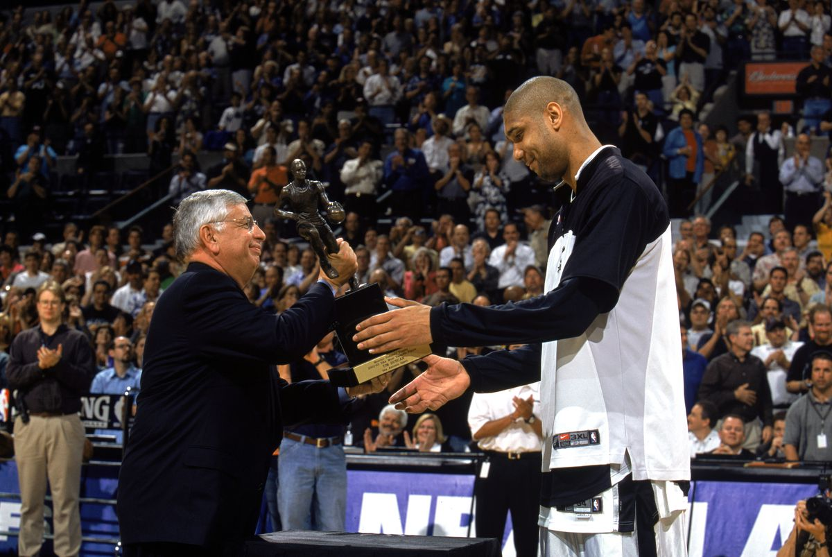 Duncan is awarded the MVP trophy