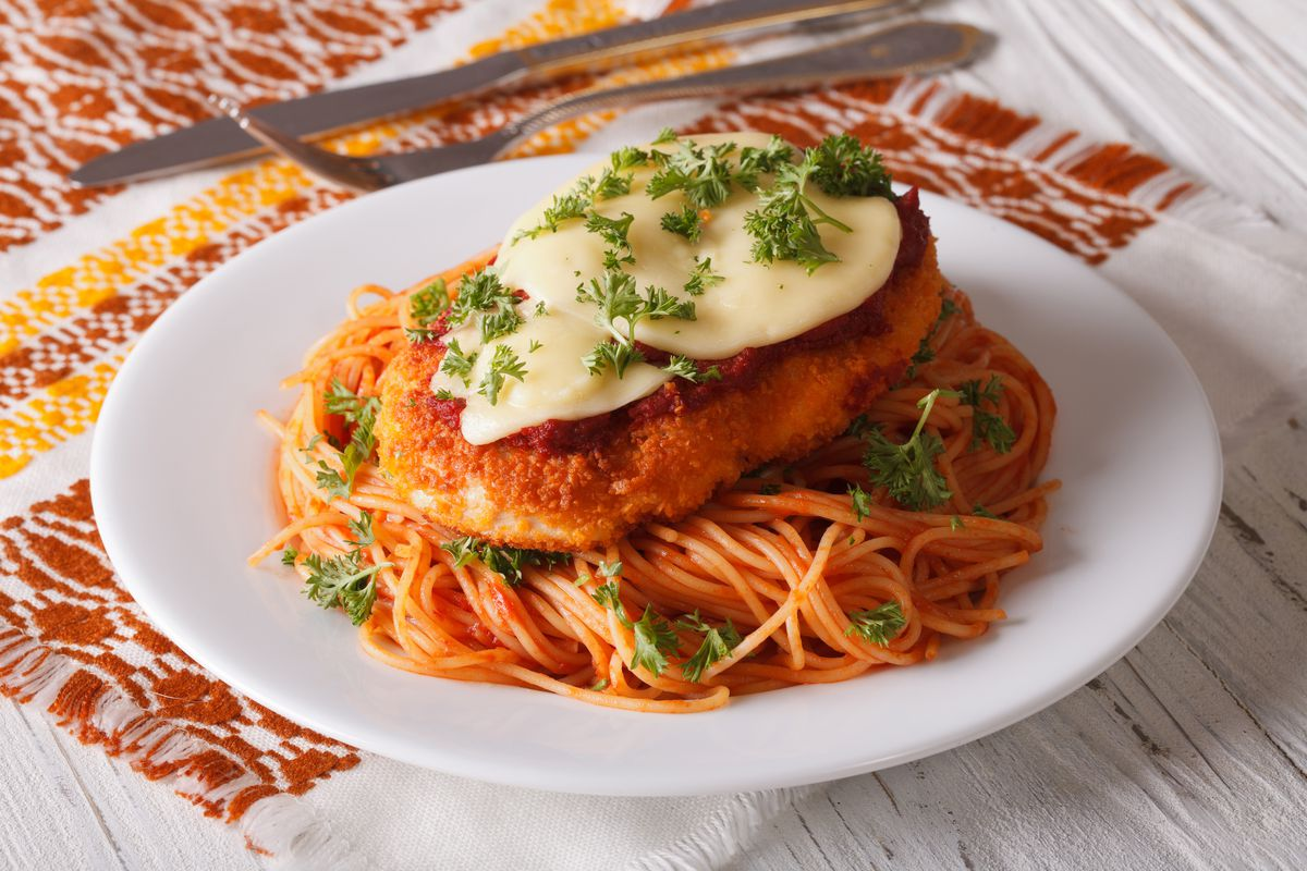 Chicken parmigiana and pasta