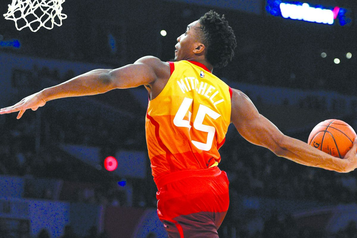 530eb55e3 Utah Jazz s Donovan Mitchell goes up for a dunk during the NBA basketball  All-Star weekend slam dunk contest Saturday