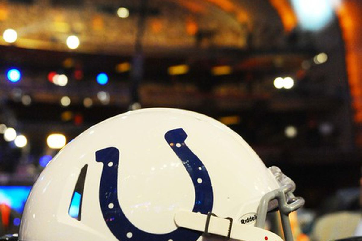 Apr 26, 2012; New York, NY, USA; An Indianapolis Colts helmet sits on the Colts table at the 2012 NFL Draft at Radio City Music Hall. Mandatory Credit: James Lang-US PRESSWIRE