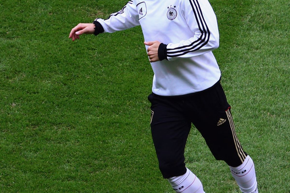 WARSAW, POLAND - JUNE 27:  Bastian Schweinsteiger of Germany attends a training session ahead of their UEFA EURO 2012 semi-final match against Italy, at the Municipal Stadium on June 27, 2012 in Warsaw, Poland.  (Photo by Alex Grimm/Getty Images)