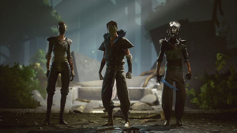 This screenshot from Absolver shows three characters standing next to each other. The first is wearing a sleek metallic mask. The second is wearing a cracked mask that looks like it's made of clay. The third is wearing a mask with creepy eyes popping out