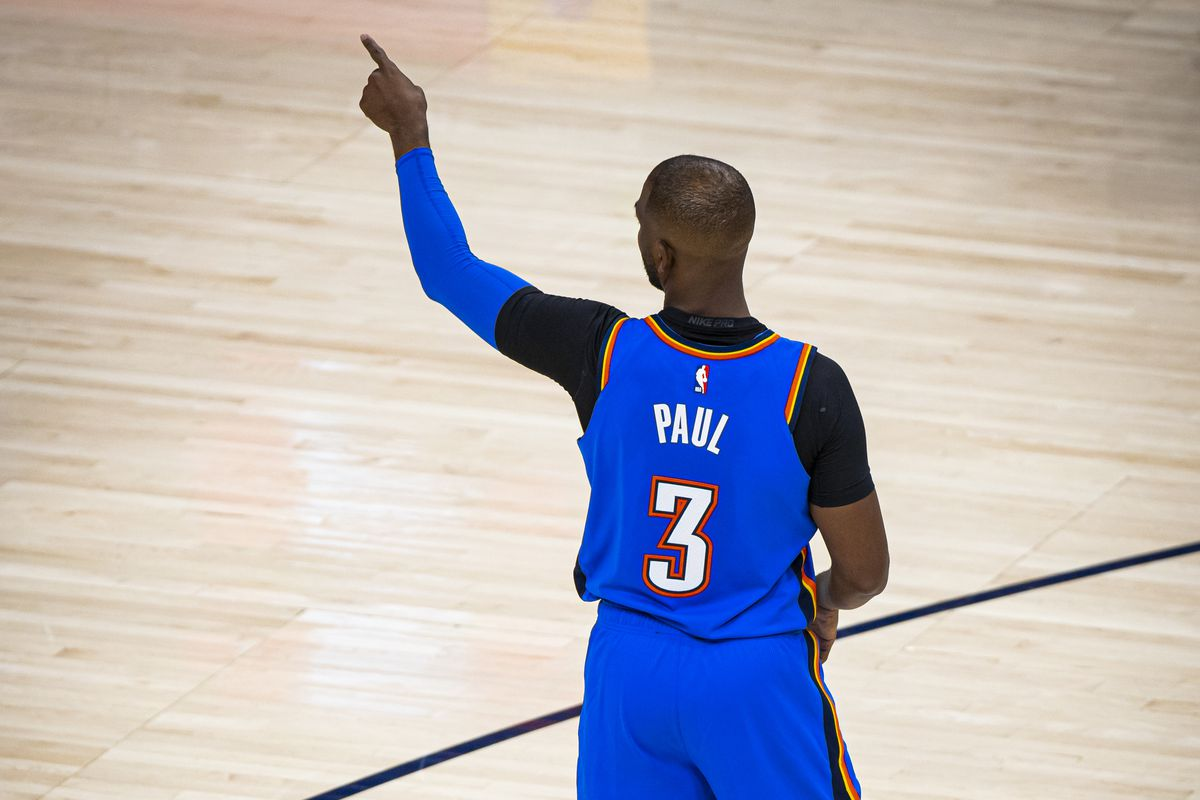 Chris Paul of the Oklahoma City Thunder points during the game against the Utah Jazz on October 23, 2019 at Chesapeake Energy Arena in Oklahoma City, Oklahoma.