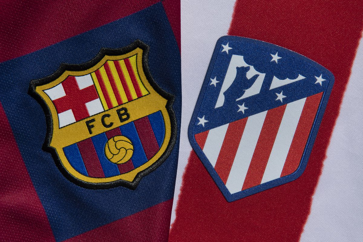 The Barcelona and Atletico Madrid Club Badges