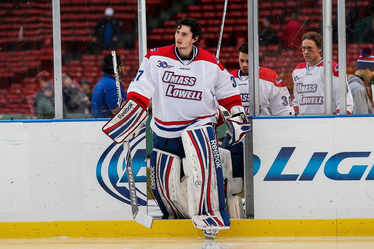 UMass Lowell and Connor Hellebuyck face Johnny Gaudreau and Boston College Sunday at 5 p.m. ET on ESPNU.