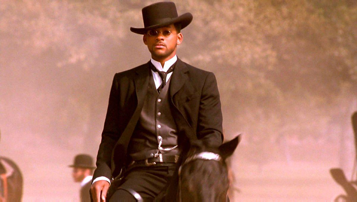 Will Smith as a cowboy rides a horse