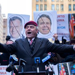 Guardian Angels founder Curtis Sliwa announces his campaign for mayor outside Penn Station, March 15, 2021.