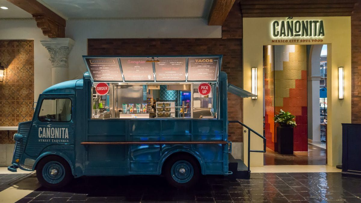 A teal food truck